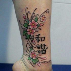 Фото тату иероглифов и сакуры на голени девушки