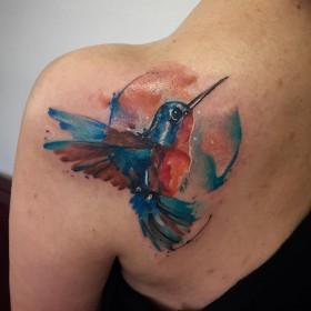 Фото тату колибри в стиле акварель на лопатке девушки