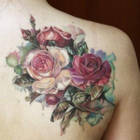 Фото татуировки роз в стиле акварель на лопатке девушки