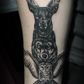 Крутая татуировка тотема оленя волка и совы на предплечье мужчины