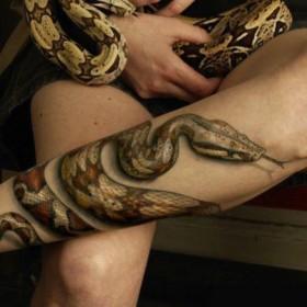 Реалистичное изображение змеи на ноге девушки - 3д тату