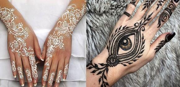 Роспись черной и белой хной на руках