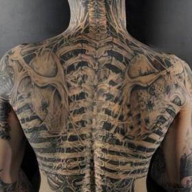Тату на спине парня - скелет
