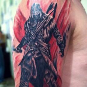 Татуировка на плече у парня - самурай