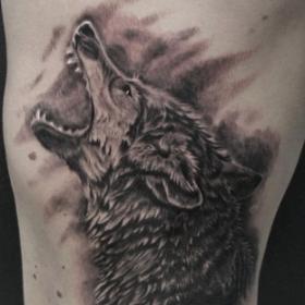 Воющий волк - татуировка на боку парня