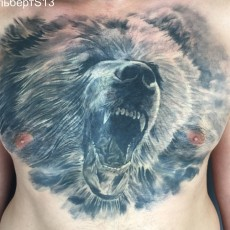 Татуировка на груди у парня - медведь
