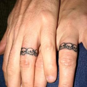 Изображение обручальных колец на пальцах парня и девушки
