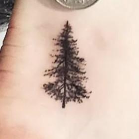 Маленькое тату дерева на щиколотке мужчины