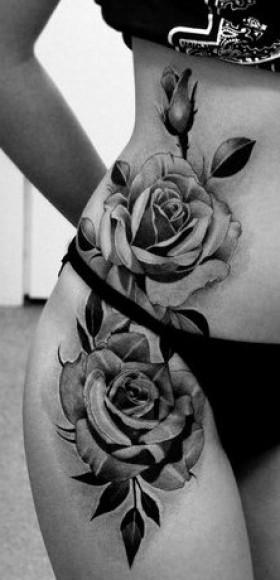 Татуировки для девушек на боку и бедре цветы