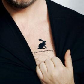 Тату на груди мужчины - заяц и надпись