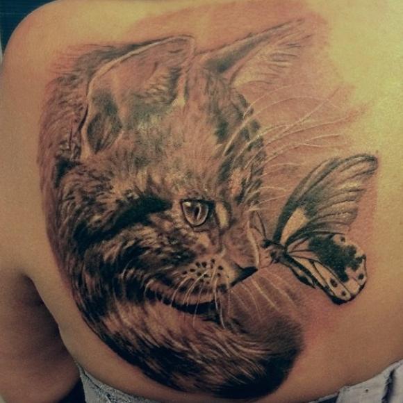 татуировки для девушек кошки фото