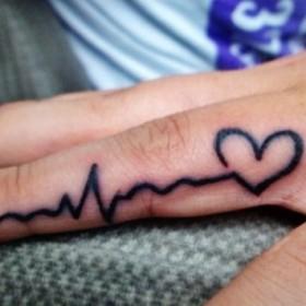 Тату на пальце девушки - пульс и сердце