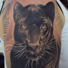 Тату на плече у девушки - пантера