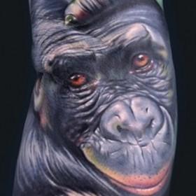 Тату на руке парня - обезьяна