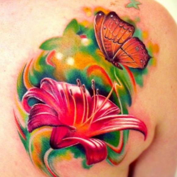 Фото тату бабочек с цветами