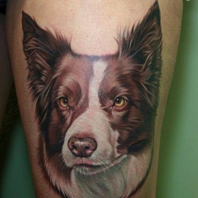 Татуировка на бедрах у девушки - собака
