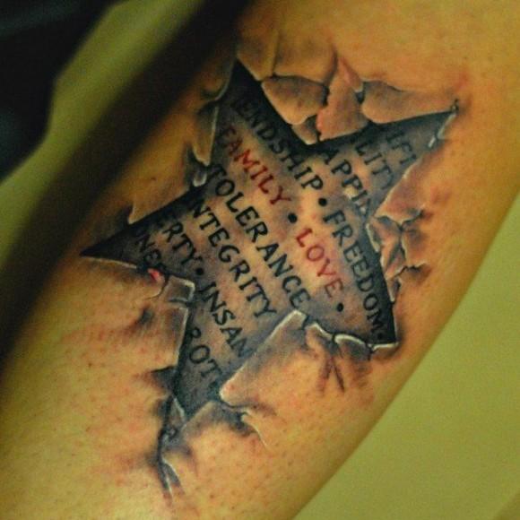 Татуировка на предплечье парня - звезда