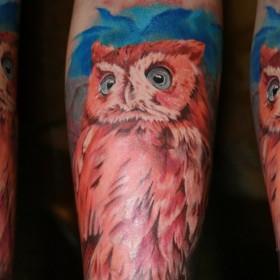 Татуировка на предплечье у девушки - сова