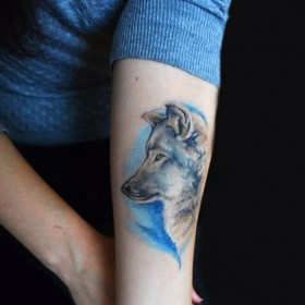 Татуировка на предплечье у девушки - волк