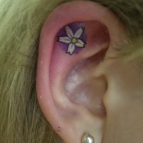 Татуировка на ухе у девушки - цветок