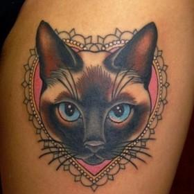 Эскизы тату с котом для девушки