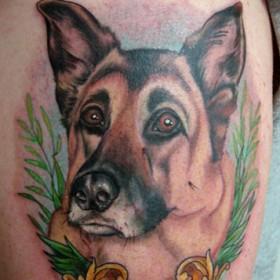 Татушка на бедрах девушки - собака
