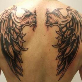 Татушка на спине у парня - крылья
