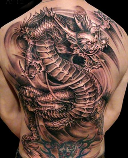 тату фото дракон на спине