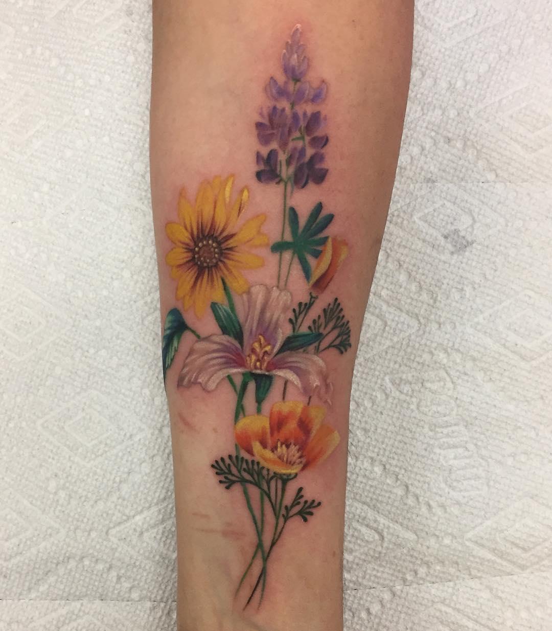 Тату фото цветы на руке для девушек эскизы