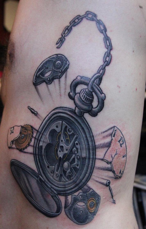 Разбитые часы тату фото