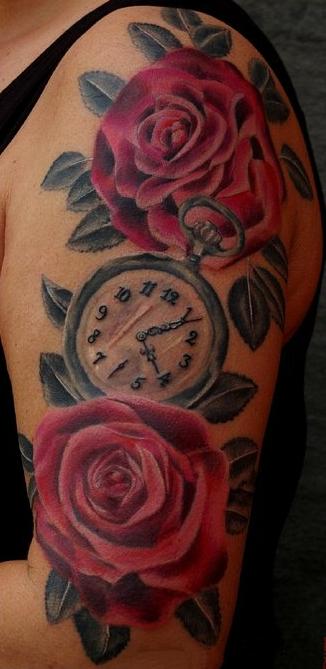 Тату розы и часы значение