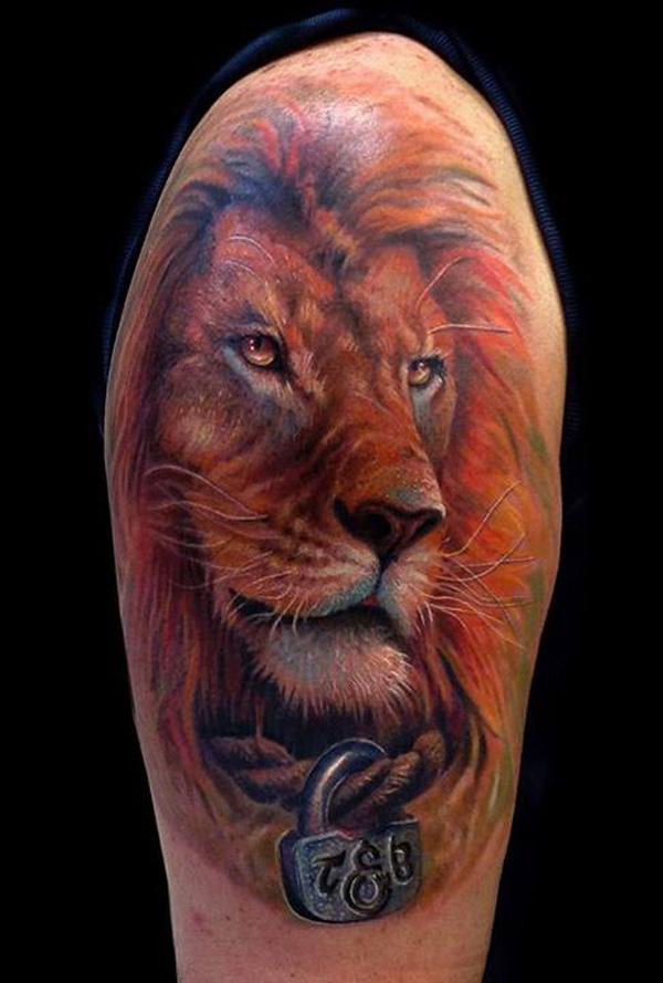 Фото татуировок на плече львы 25