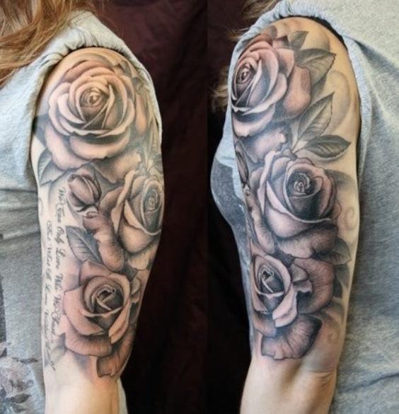 Тату розы для девушек на плече