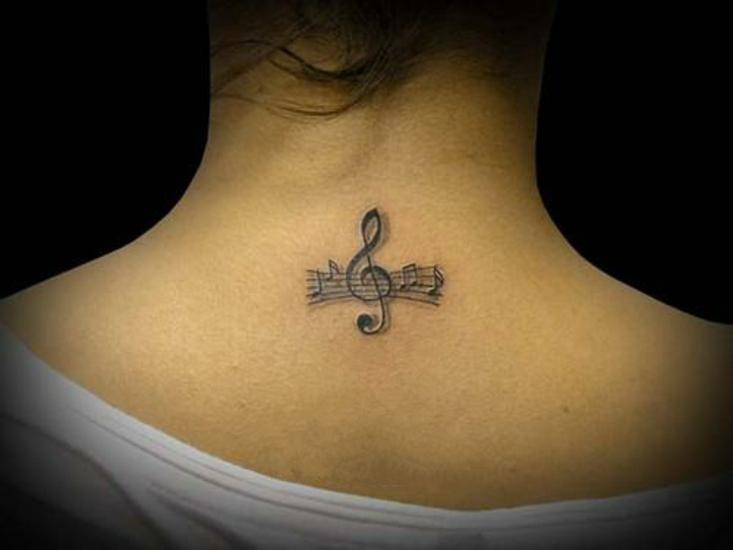 Тату скрипичный ключ ноты