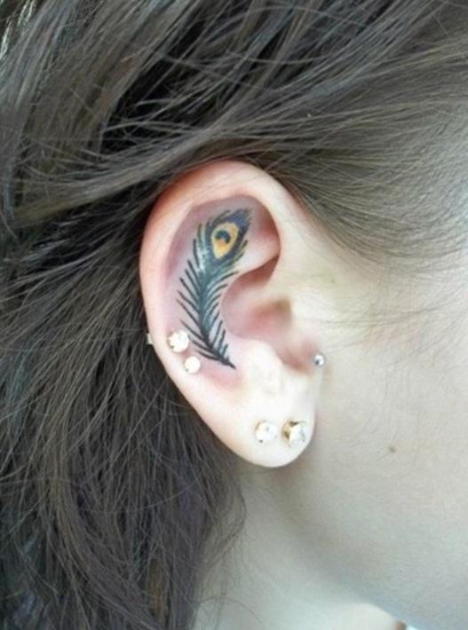 Татуировка на мочке уха 36