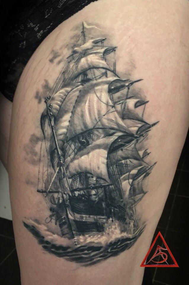 корабль тату фото