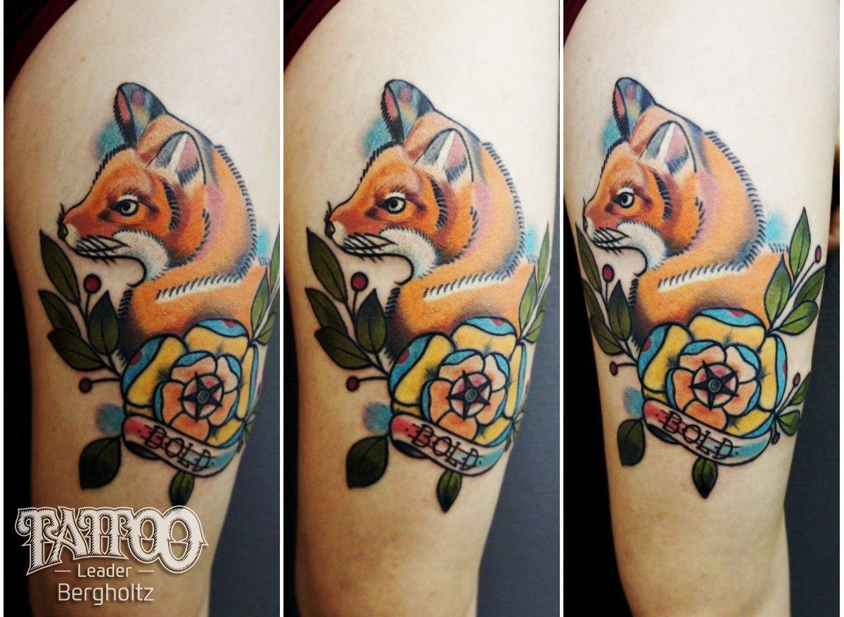 Татуировка лиса на руке у девушек фото