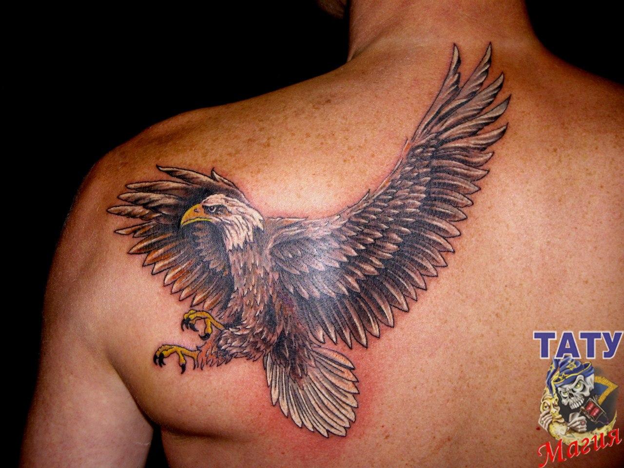 Орел на шее тату фото