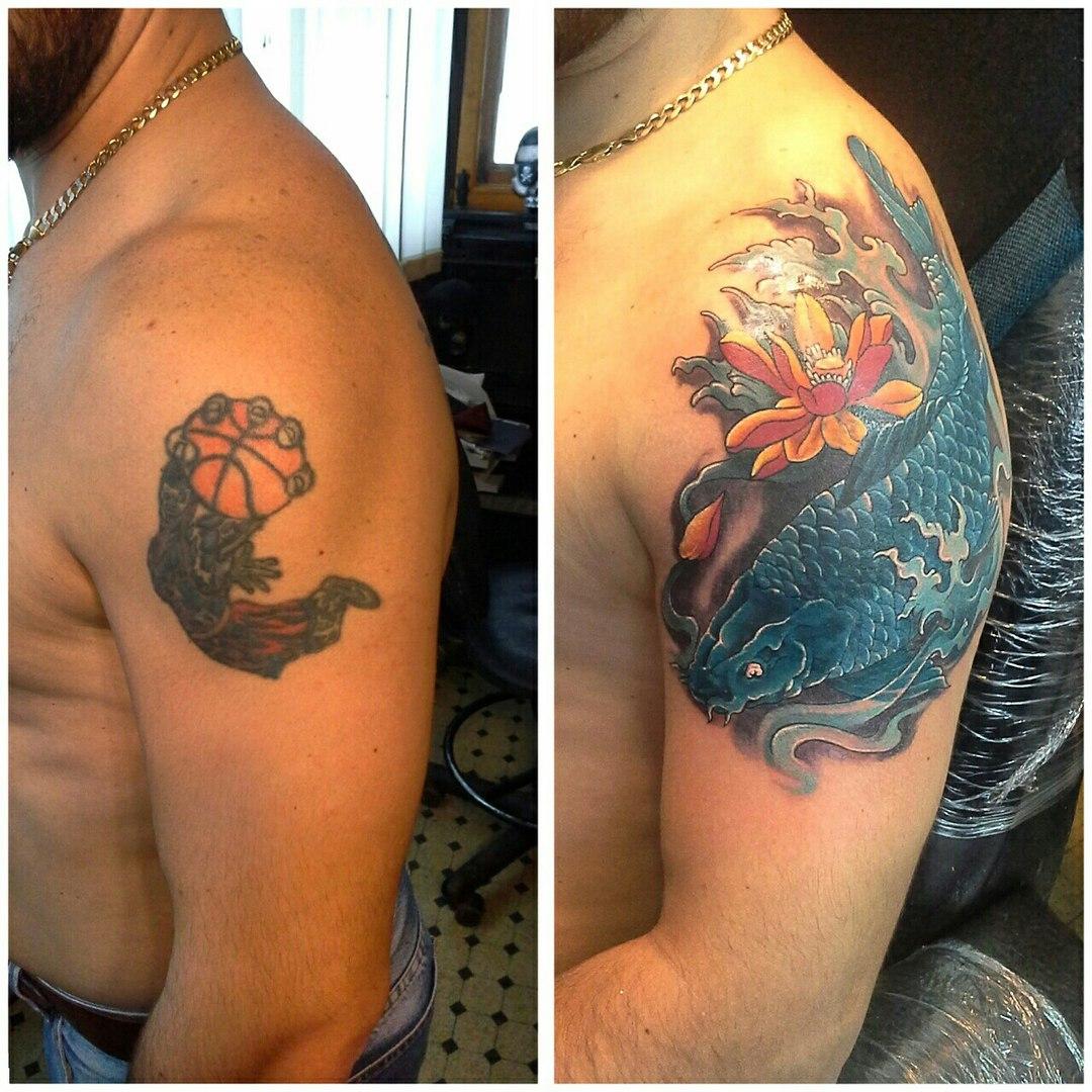 Татуировки карпа на плечи фото