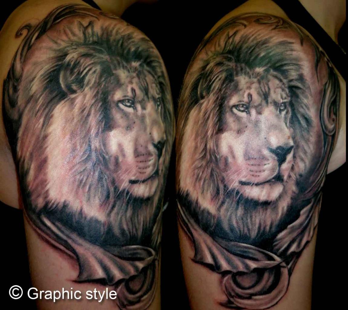Татуировки льва на плече фото