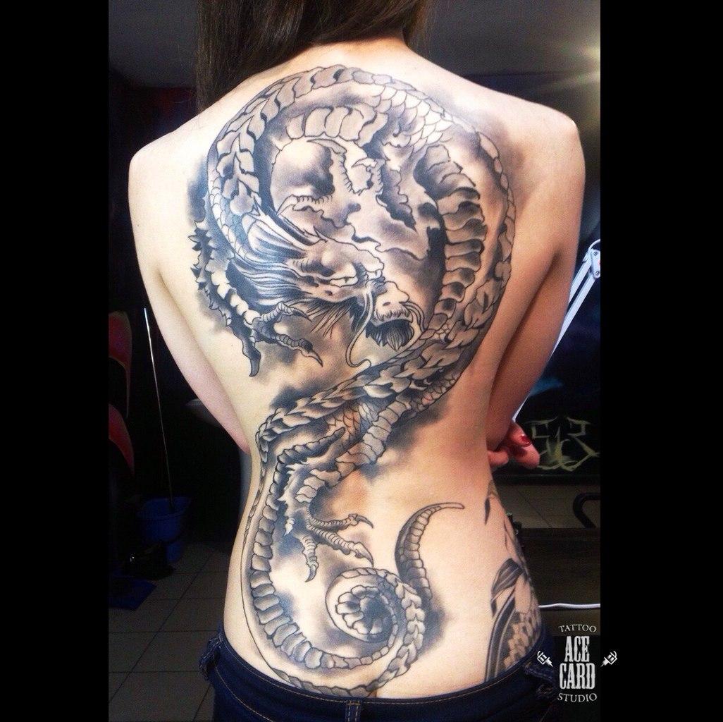 Тату дракон на спине для девушки