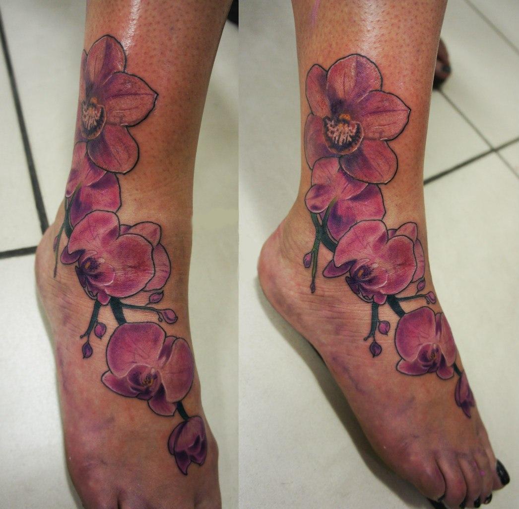 Тату орхидеи на ноге фото