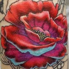 Тату на плече девушки - красный цветок