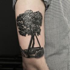 Тату на плече парня - дерево