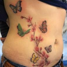 Тату на животе девушки - бабочки и сакура
