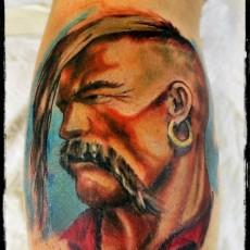 Татуировка на голени у парня - Тарас Бульба