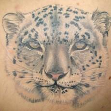 Татуировка на лопатке девушки - леопард