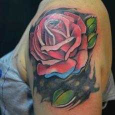 Татуировка на плече девушки - роза