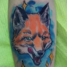 Татуировка на предплечье у парня - лиса