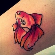 Татуировка на щиколотке девушки - золотая рыбка